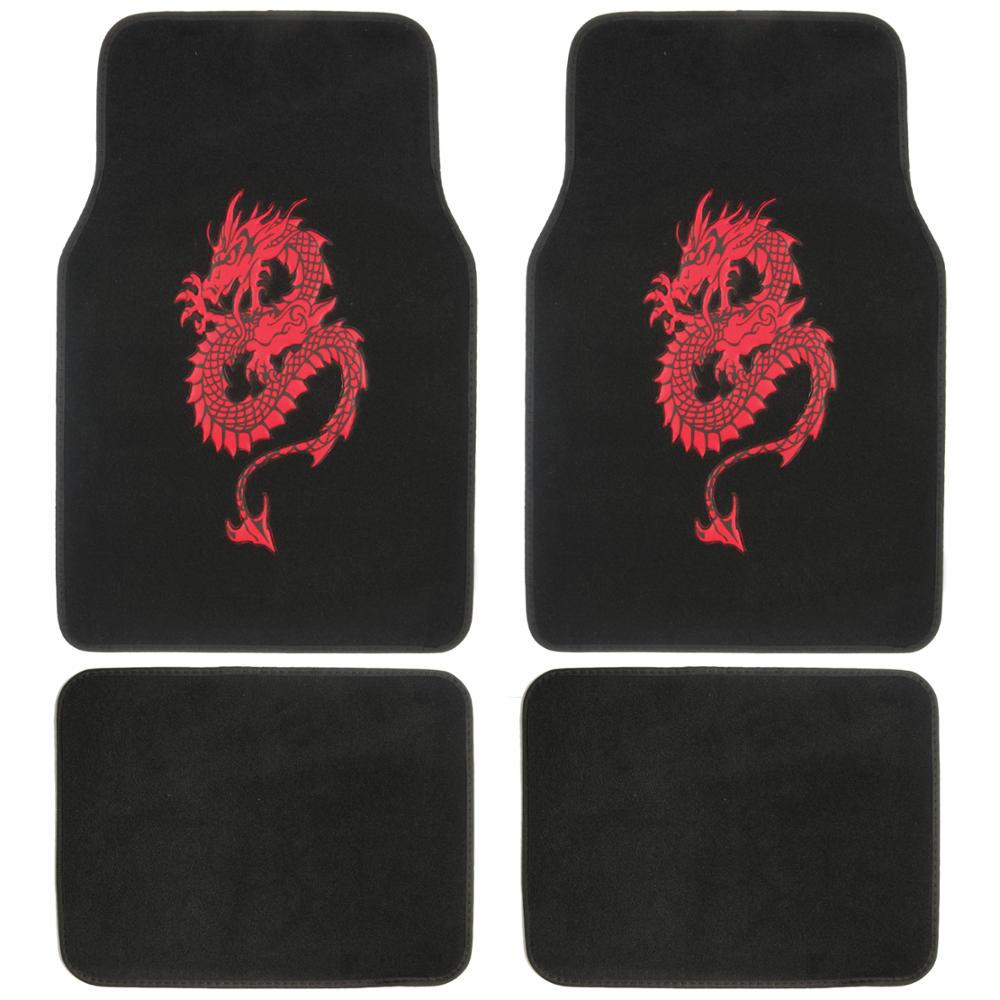Red dragon car floor mats universal fit design mat 4 for 1 piece floor mats trucks