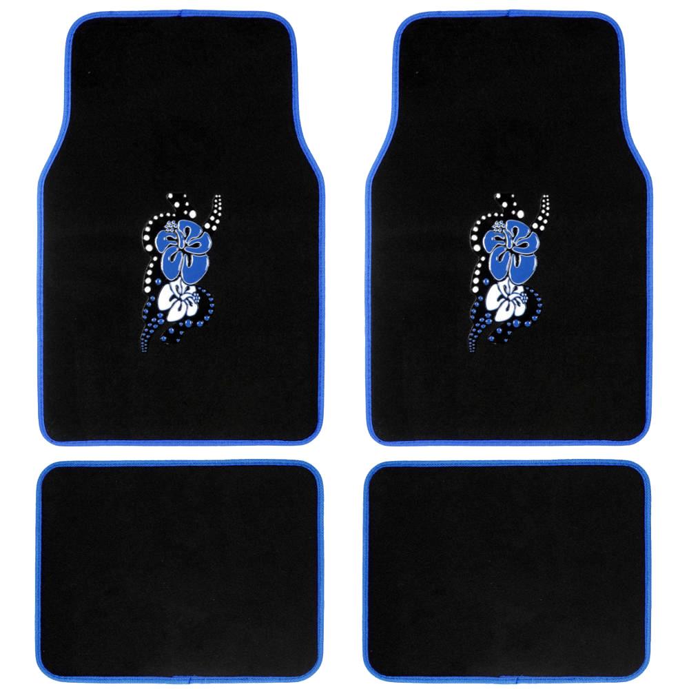 Design Car Floor Mats Blue Hawaiian Flower, 4 PC Set For