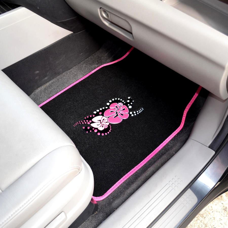 Pink Hawaiian Flower Car Floor Mats 4 Pc Custom Auto