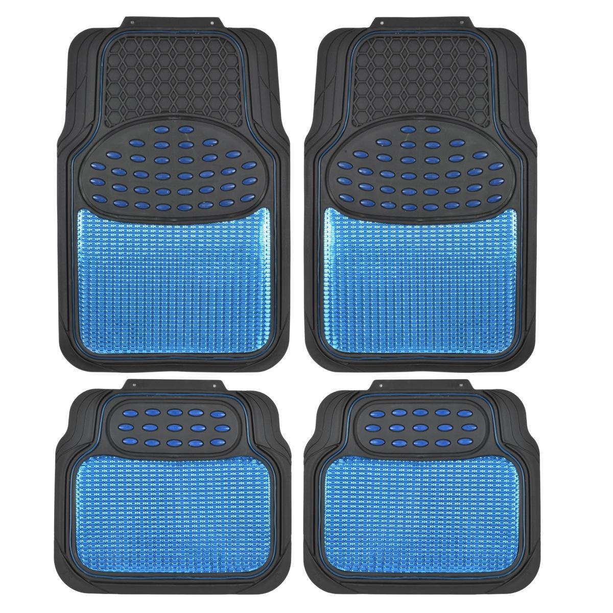 Car Rubber Floor Mats Blue Metallic Design On Black Heavy