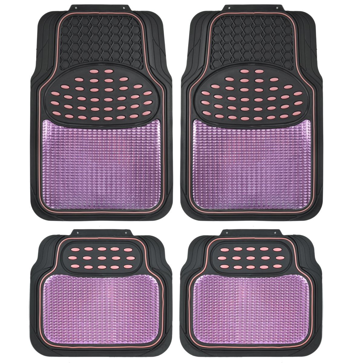 Pink And Black Metallic Design Rubber Floor Mats Car Suv