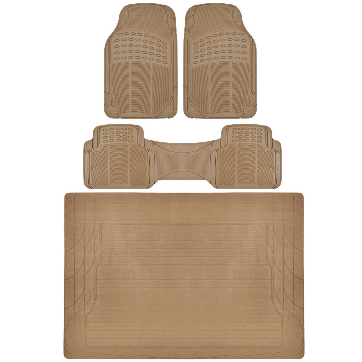 4 PC Set Auto Floor Mats Car Truck SUV Beige Semi Custom