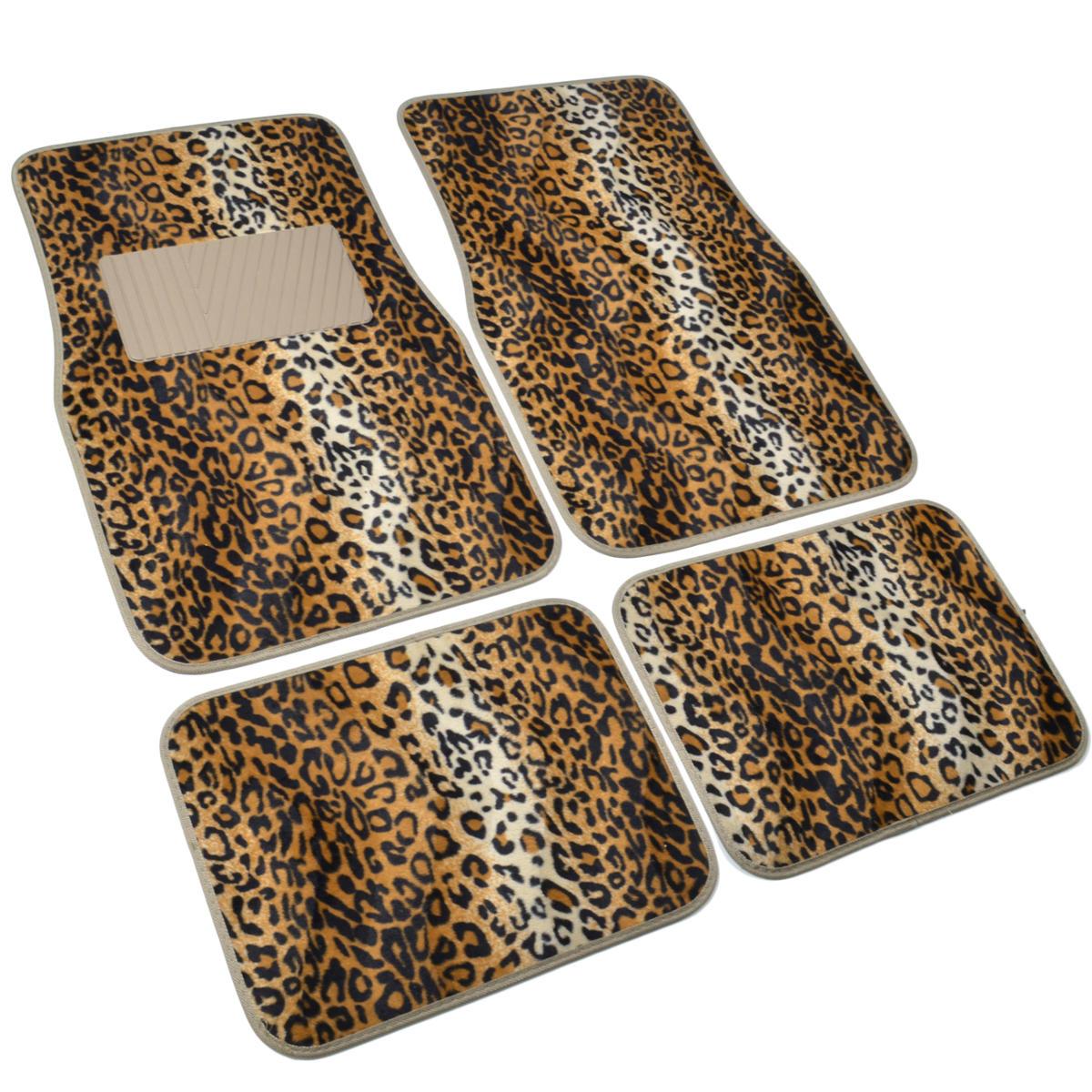 Supreme Leopard Beige 4 Piece Plush High Quality Car