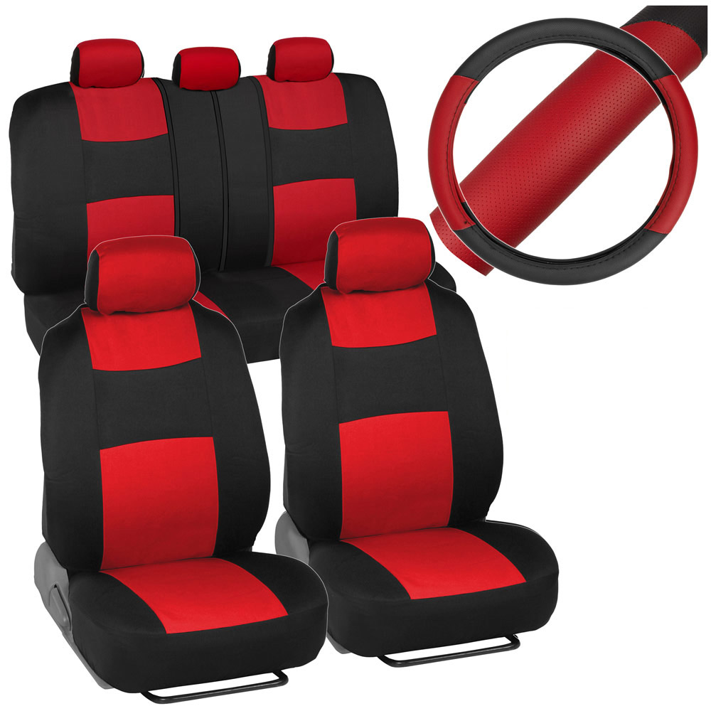 Black Red Car Seat Covers For Auto W 2 Tone PU Leather Steering Wheel Cover