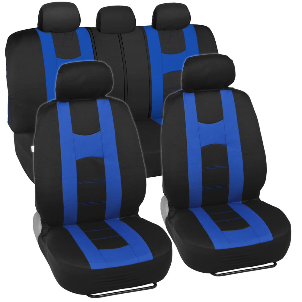 Car Seat Covers Sport Stripes Black And Blue Front And