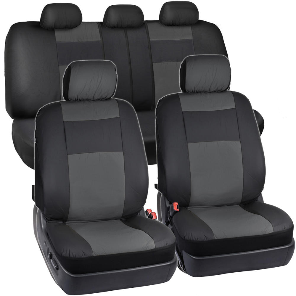 Synthetic Leather Car Seat Covers Amp Carpet Floor Mats Black Charcoal Gray Ebay