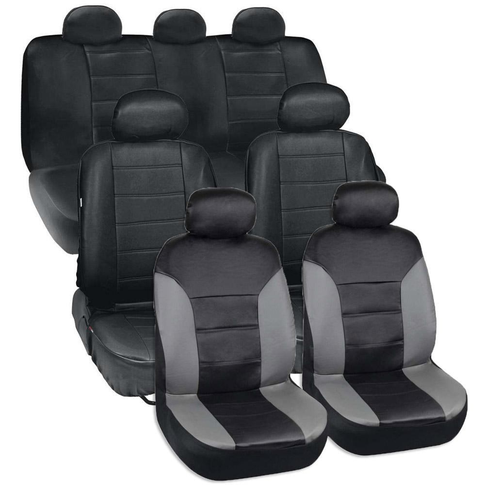 van suv seat covers 3 row 2 tone color pu leather covers black gray full set ebay. Black Bedroom Furniture Sets. Home Design Ideas
