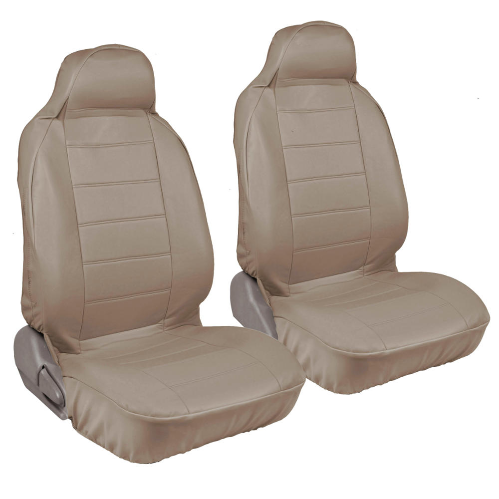 Car seat covers front pair beige synth leather for - Car seat covers for tan interior ...