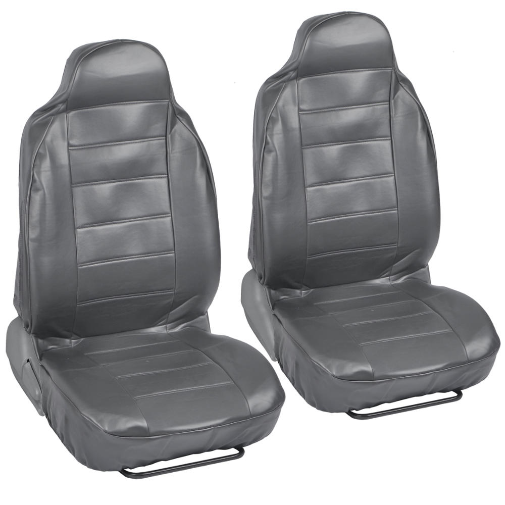 Pair Of High Back Bucket Seat Covers In Gray Synthetic