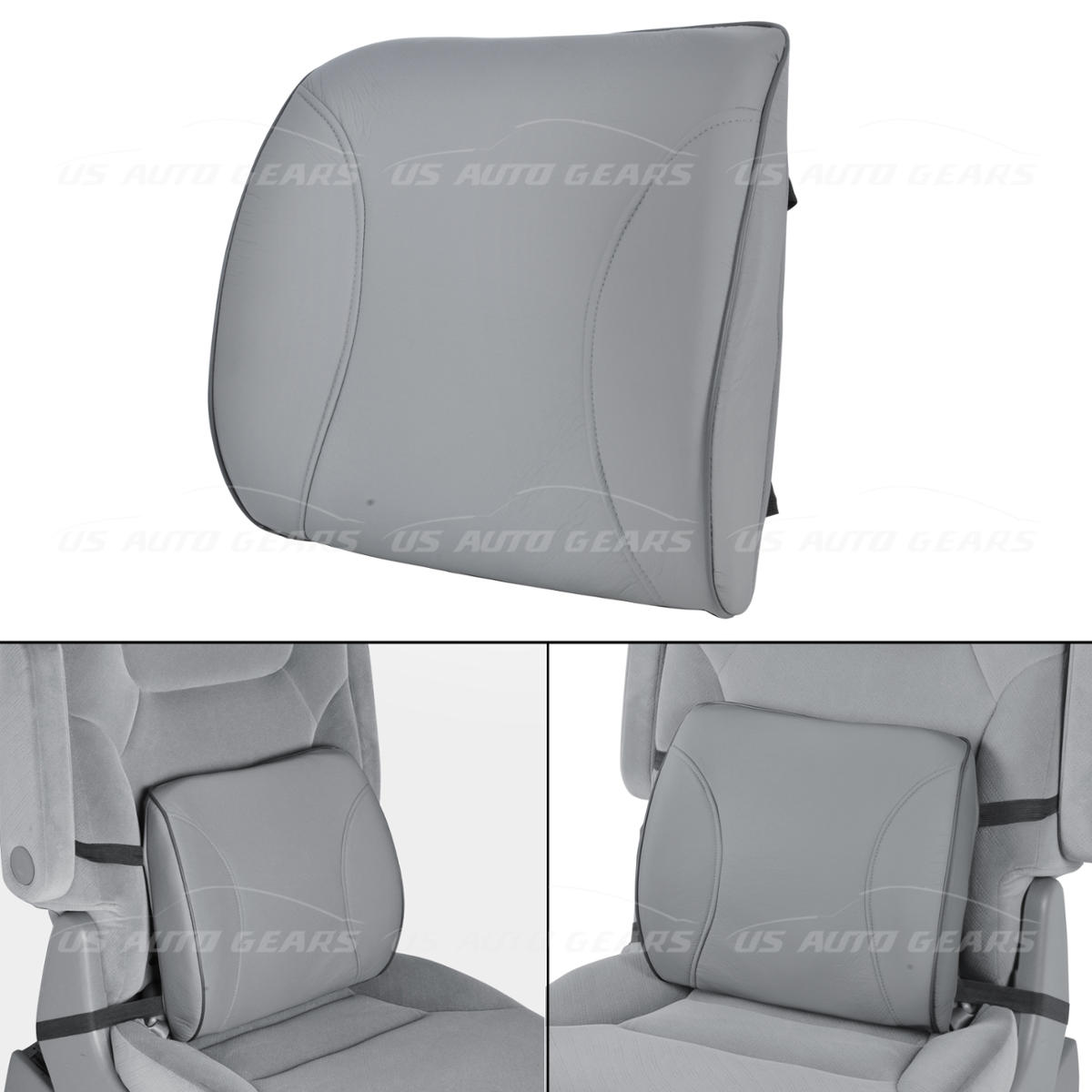 Gray Leather Memory Foam Lumbar Cushion Support Strap Car