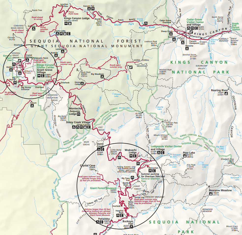 Map to King's Canyon and Sequoia National Parks