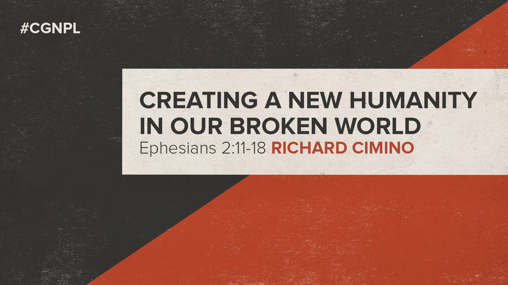 "Richard Cimino – ""Creating a New Humanity in Our Broken World"""