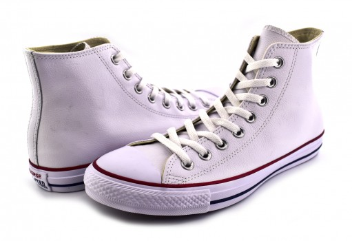 CONVERSE 132169 WHITE LEATHER CHUCK TAYLOR LEATHER HI  23.0 AL 31.0