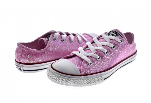 CONVERSE 663628 PINK FOAM/ENAMEL RED/WHITE CHUCK TAYLOR ALL STAR SPARKLE OX  17-25