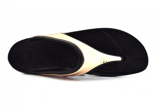 CROCS 205134 08O BLACK/ROSE GOLD SLOANE HAMMERED MET FLIP W  22-31