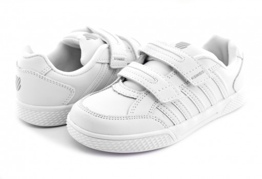 K-SWISS 52940 101 WHITE/WHITE KID COURT  17-22