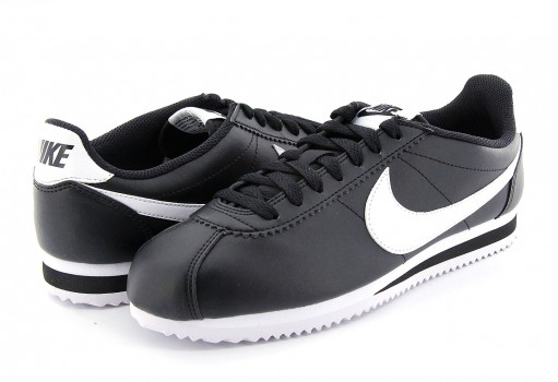 NIKE 807471 010 BLACK/WHITE-WHITE CLASSIC CORTEZ LEATHER  22-27