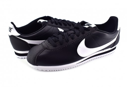 NIKE 807471 016 BLACK/WHITE CLASSIC CORTEZ LEATHER 22