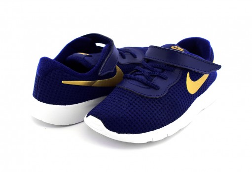 NIKE 818383 406 BLUE VOID/MTLC GOLD-WHITE TANJUN (TDV)  12-16