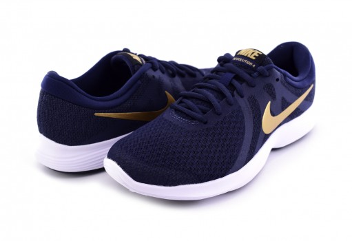 NIKE 908999 406 OBSIDIAN/MTLC GOLD-BLACK-WHITE REVOLUTION 4  22-27