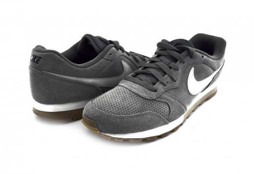 NIKE AQ9211 002 GUNSMOKE/VAST GREY-BLACK-GUM LT BROWN-WHITE MD RUNNER 2 SUEDE  25-30