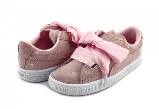 PUMA 365137 03 PEARL-PEARL SUEDE HEART VALENTINE INF  11-16
