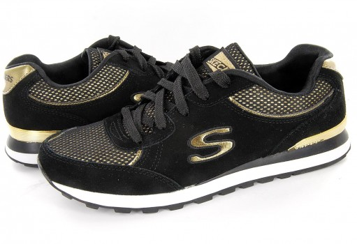 SKECHERS 143 BKGD BLACK GOLD WOMENS SPORT ORIGINALS  22-27