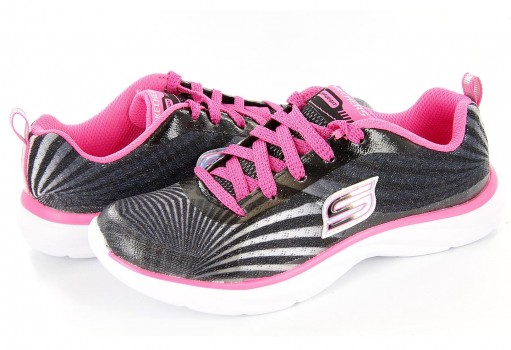 SKECHERS 80590 BKWP BLACK/WHITE /PINK SKECHERS GIRLS  17-25