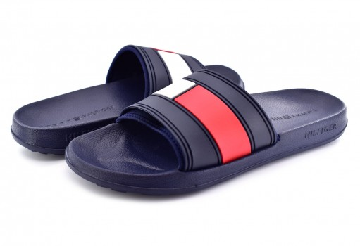 TOMMY HILFIGER FM0F M01006 020 RWB FLAG POOL SLIDE  25-30