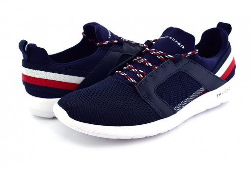 TOMMY HILFIGER FM0F M01345 403 MIDNIGHT TECHNICAL MATERIAL MIX SNEAKER  25-30