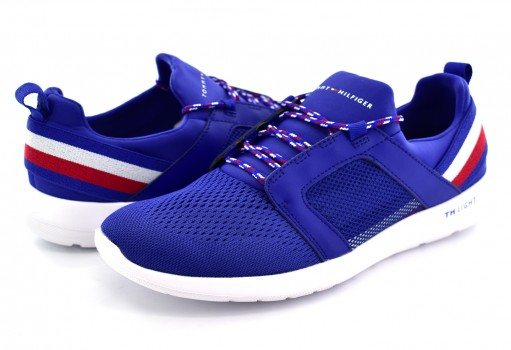 TOMMY HILFIGER FM0F M01345 408 MONACO BLUE TECHNICAL MATERIAL MIX SNEAKER  25-30