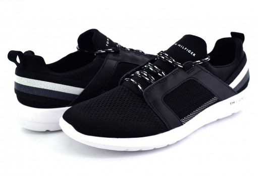 TOMMY HILFIGER FM0F M01345 990 BLACK TECHNICAL MATERIAL MIX SNEAKER  25-30