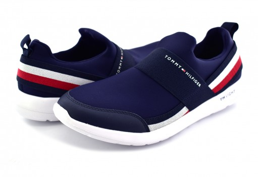 TOMMY HILFIGER FM0F M01346 403 MIDNIGHT TECHNICAL ELASTIC SLIPON SNEAKER  25-30