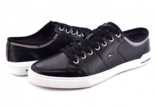 TOMMY HILFIGER FM0F M01497 990 BLACK CORE CORPORATE LEATHER SNEAKER  25-30
