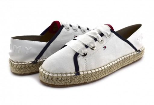 TOMMY HILFIGER FW0F W02218 121 WHISPER WHITE TH METALLIC LACE UP ESPADRILLE  23-27