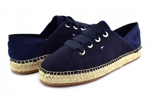 TOMMY HILFIGER FW0F W02218 403 MIDNIGHT TH METALLIC LACE UP ESPADRILLE  23-27