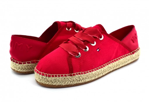 TOMMY HILFIGER FW0F W02218 611 TANGO RED TH METALLIC LACE UP ESPADRILLE  23-27