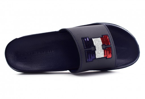 TOMMY HILFIGER FW0F W02655 403 MIDNIGHT SEQUINS SPARKLE POOL SLIDE  23-27