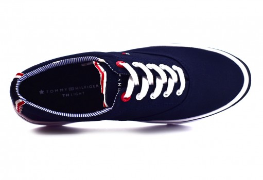 TOMMY HILFIGER FW0F W02809 403 MIDNIGHT TEXTILE LIGHT WEIGHT SNEAKER  23-27