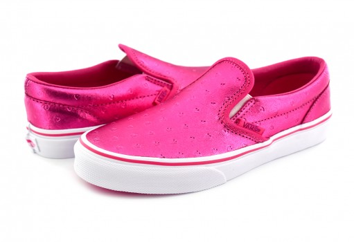 VANS 3 2QIQ6U (METALLIC HEARTS) EMBOSS/HOT PINK CLASSIC SLIP ON 16