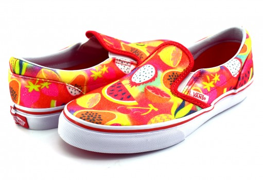VANS 3 2QIR5J (GLITTER FRUITS) MULTI/TRUE CLASSIC SLIP ON  16-24