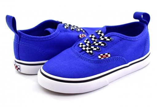 VANS 3 8E8Q6G (CHECK LACE) VICTORIA BLUE AUTHENTIC ELASTIC 09