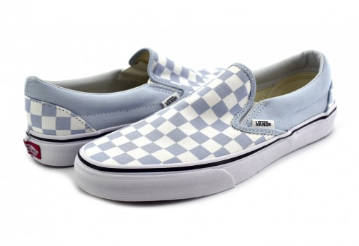 VANS 3 8F7QCK (CHECKERBOARD) BABY BLUE CLASSIC SLIP ON 22