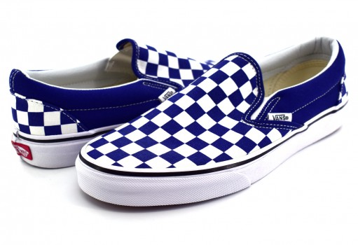 VANS 3 8F7QCN (CHECKERBOARD) ESTATE BLUE CLASSIC SLIP ON 21.5