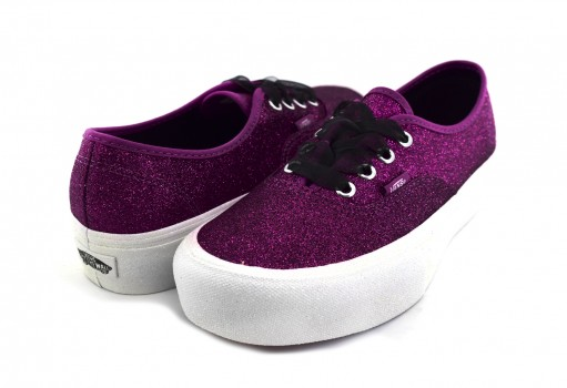 VANS 3 AV8UJQ (GLITTER) WILD ASTER/TRUE WHITE AUTHENTIC PLATFOR  22.5-26.5