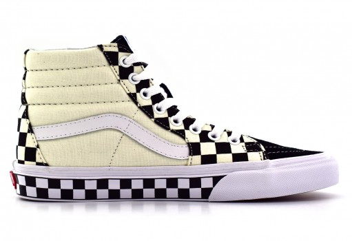 VANS 8GEQMI (CHECKER SIDEWALL) BLACK SK8 HI 21.5