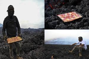 Un hombre hornea pizzas en el volcán Pacaya de Guatemala