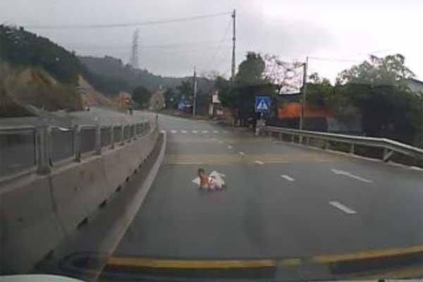 Frena al ver un bebé gateando en medio de la carretera (Video)