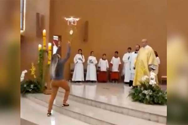 Un drone llevó la hostia hasta el altar en Brasil