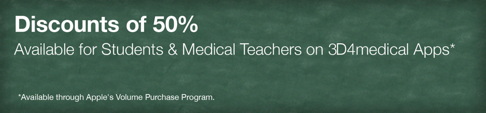 Discounts of 50% available for students & teachers on 3D4Medical apps